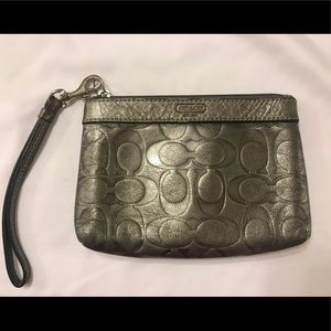 Coach Gunmetal Leather Embossed Wristlet